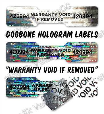 DOGBONE Security Hologram Stickers NUMBERED, 45mm x 10mm, Warranty Labels VOID
