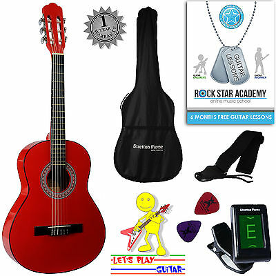 3/4 Size Nylon String Classical Child Kids Childrens Guitar Package Red