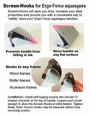 20 Screen Hooks for Ergo-Force squeegees, Screen printing squeegee Screen-Hooks