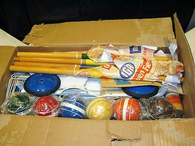 Vintage Garton Toy Company 6 Player Croquet Set With Stand In Original Box