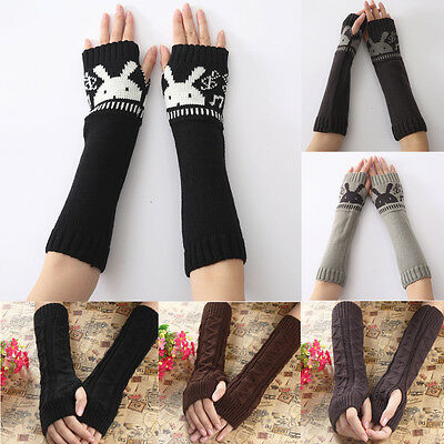 Fashion Women's Knitted Arm Sleeve Fingerless Winter Gloves Soft Warm Mittens
