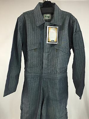 NEW Key Unlined Fisher Stripe Denim Coverall Long Sleeve