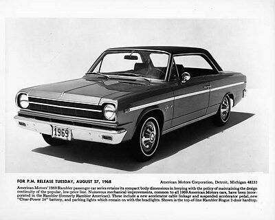 1969 AMC Rambler Rogue Two Door Hardtop ORIGINAL Factory Photo oae3027
