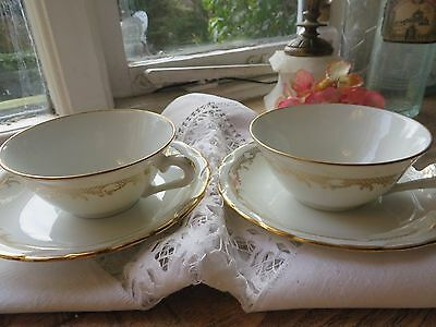 ~ Delightful Pair Of Delicate & Pretty Vintage French Hot Chocolate Cups  ~