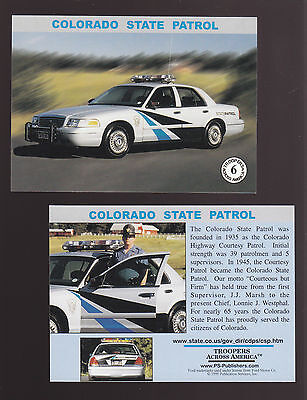 COLORADO STATE POLICE TROOPERS Ford Squad Car Highway Patrol 1999 TRADING CARD