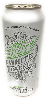 Mountain Dew White Label Soda in 16 OZ Can (6 Pack) Rare!