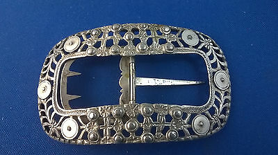 Dutch Silver .833 19th Century Belt Buckle Reticulated & Embossed C 1825