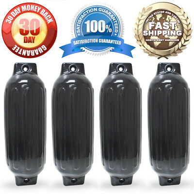 "4 NEW RIBBED BOAT FENDERS 8.5"" x 27"" BLACK TWIN EYE BUMPERS MOORING PROTECTION"