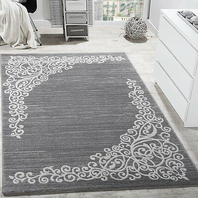Art Rug Designer Carpet Glitter Yarn Classic Floral Design Grey White Runner NEW