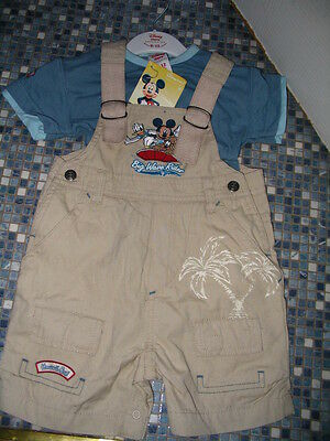 Disney Store Mickey Mouse Pluto Donald Boys Dungarees & Top 6/12 Months New