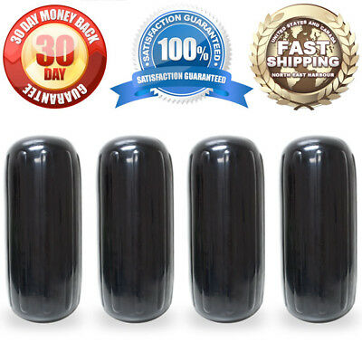 "4 Ribbed Marine 8"" x 20"" Boat Fender Black Vinyl Bumper Dock Shield Protection"