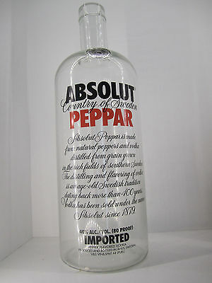 "RARE Large Absolut Vodka Peppar - 1986 STORE DISPLAY ADVERTISING BOTTLE 19.5"" H"