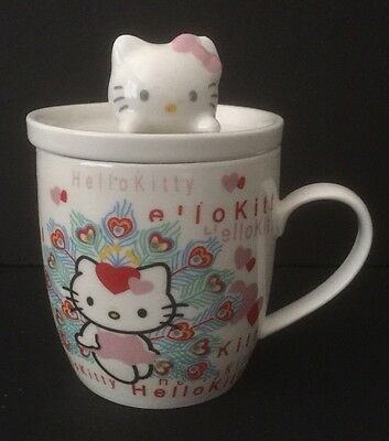 HELLO KITTY CERAMIC MUG w/LID:NIB
