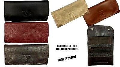 100% AUTHENTIC LEATHER TOBACCO Pouch Case Wallet Black Red Brown GENUINE GREEK