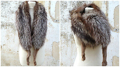 Vintage 1930/1940 French brown/silver fox fur collar stole scarf