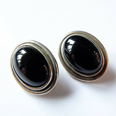 Vintage Solid Silver Clip On Earrings Black Stone Marked 925