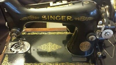 Antique SINGER SEWING MACHINE cast iron treadle head victorian 1929