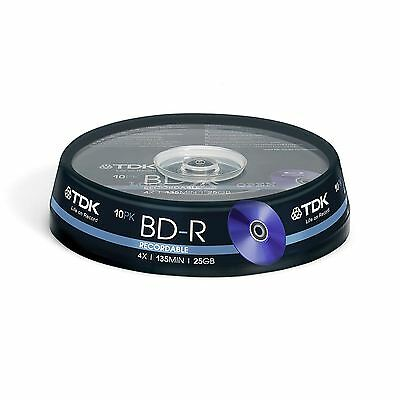 BRAND NEW TDK T78088 25GB 4X RECORDABLE BD-R - CAKEBOX 10 PACK 135Min Spindle UK