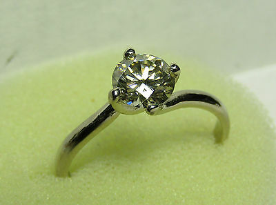 14K Solid White Gold 0.81 CT. 6.15 MM. White Moissanite Diamond Ring Size 7