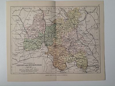 Oxford & Buckingham Antique County Map, 1885, Coloured, Atlas, Chipping Norton
