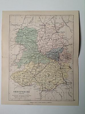Shropshire Antique County Map, 1885, Coloured, Atlas, Ludlow Market Drayton