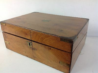 Antique Wooden Writing Slope Wooden Box Brass Strapping Old