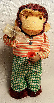 VINTAGE DRINKING THIRSTY MONKEY WIND UP TIN PLUSH TOY ALPS JAPAN 1940's WORKING