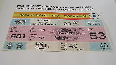 TICKET 1982 WORD CUP GAME 40 ENGLAND v WEST GERMANY
