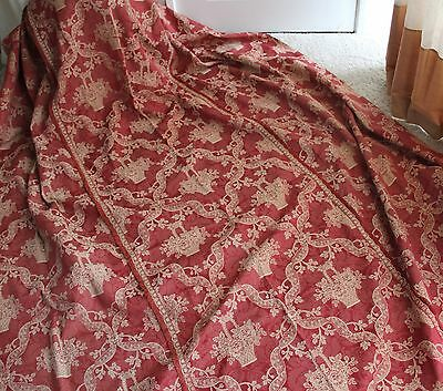 Vintage French 19thC Period Antique Bedspread Fabric Red Gold Coverlet Throw VGC