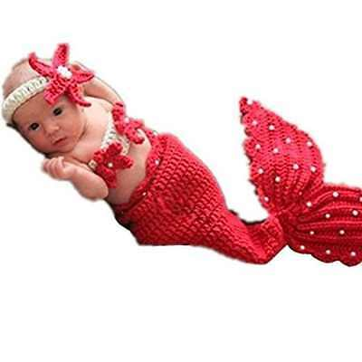 Newborn Boy Girl Baby Outfits Photography Props Mermaid Headband Bra Tail Set
