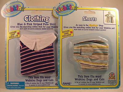 Webkinz 'Pink/Blue Polo' &'Shorts' 2 Sets Clothes NEW!
