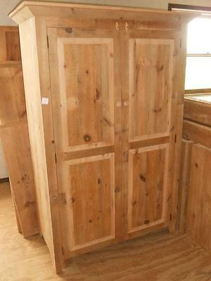 """Antique Amish Handmade Unfinished Reclaimed Barn Wood Armoire /tv Cabinet 72""""h"""