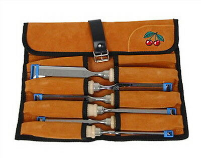 Chisels Two Cherries 6pc Bevel Edged Chisel in a leather tool roll 500-1575