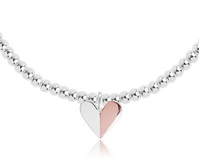 Joma Jewellery Valentina silver & rose gold heart bracelet in bag, valentines