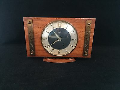 Vintage/Retro Metamec Clock - Brown/Brass