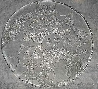 Silhouette Servers Pilgrim Glass Clear Large Dish Platter with Cats # 1396 NIB
