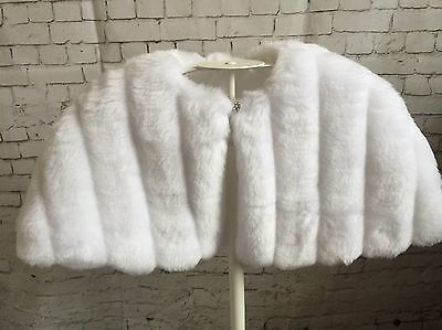 FAB Wedding Bridal White Faux Fur Mink Stole Wrap Bolero Jacket Shrug Cape