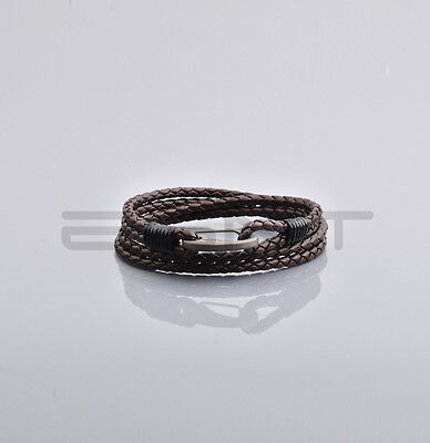 EGNT Genuine Leather Multi Wrap Bracelet BLACK MENS WOMENS UNISEX ANKLET BANGLE
