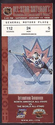 1998 NHL All Star Saturday Full Ticket Skills Competition & Heroes of Hockey