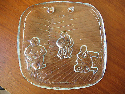 Signed Hk Scandinavian Art Glass Serving Platter Wall Art Kosta Boda Orrefors