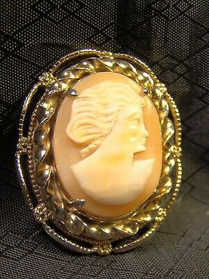 Pretty Art Nouveau Genuine Carved Shell Gold Vintage Cameo Pin Brooch