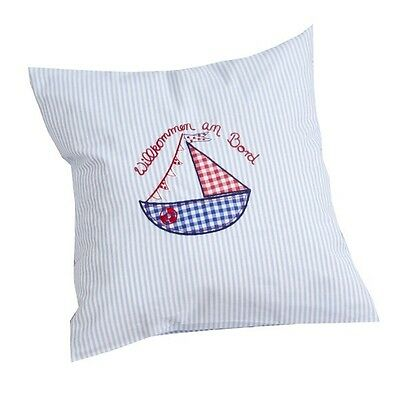 Pillow WELCOME ON BORD blue striped Hansekind Baby Kinder Ship Boat 40x40
