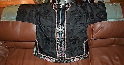 Fine Antique Chinese Black Silk Robe with Flower Embroidery