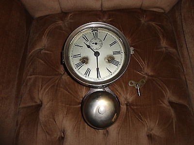 Antique 19th Century Ships Nautical Clock with External Bell Working with Key!