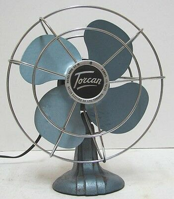 """vintage Torcan model 836SO 8""""  Electric AC  Fan All Metal  Works Perfectly Nice"""
