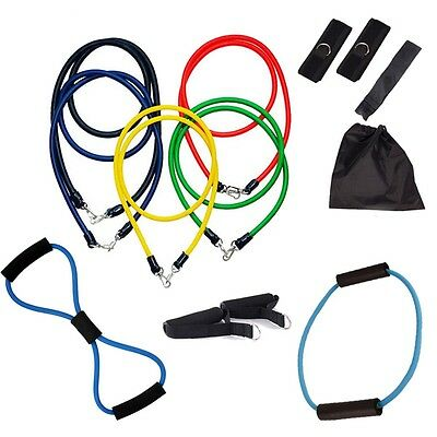 NEW 13pcs Fitness Heavy Resistance Band Yoga ABS Tension Rope Strength Training