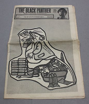 1969 Black Panther Party Newspaper w/ Emory Douglas Front & Rear Cover Art