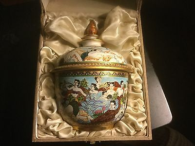 Antique 18kt Thai Benjarong Hand Painted Jar w/orig. case. Mint condition.
