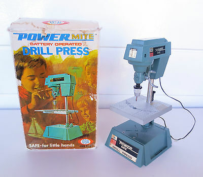 Vintage Power Mite Battery Operated Toy Miniature DRILL PRESS by Ideal 1971