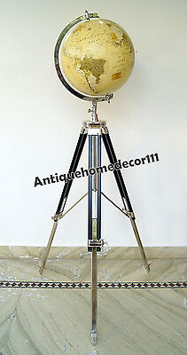 Nautical Modern Home Decorative Collectible Retro World Globe Tripod Stand Gift